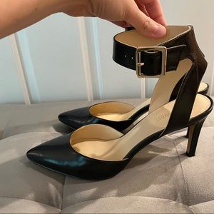 Nine West Black Leather Heels w/ Ankle Strap, 7.5